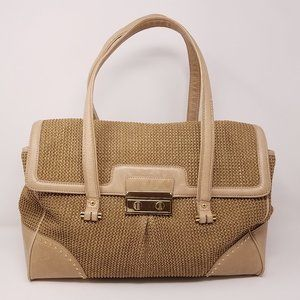 Talbots bag large shoulder w/tan leather trim